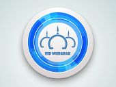 Stylish mosque design on silver and blue icon on grey background for Muslim community festival Eid M