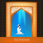 Beautiful greeting card design for Muslim community festival Eid Mubarak celebrations.