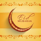 Golden crescent moon on floral decorated yellow background for Muslim community festival Eid Mubarak