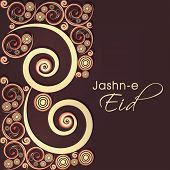 Beautiful floral decorated greeting card design for Muslim community festival Jashn-e-Eid celebratio