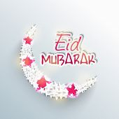 Beautiful crescent moon decorated with pink stars on blue background for Muslim community festival E