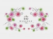Stylish floral decorated background for the occasion of Muslim community festival Eid Mubarak celebr