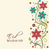 Colorful flowers decorated greeting card design for the occasion of Muslim community festival Eid Mu