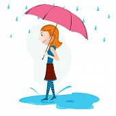 Cute little girl holding umbrella, monsoon season background.