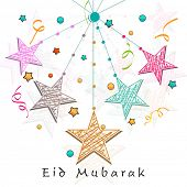Shiny colorful stars on white background for Muslim community festival Eid Mubarak celebrations.