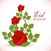 Beautiful red roses and green leaves decorated greeting card design for Muslim community festival Ei