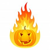 Halloween pumpkin on fire