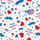 Valentine's Day hipsters symbols with the American flag. Seamless pattern.