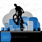 Background design with bmx biker silhouette. Easy editable vector. Eps 10