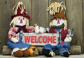 Boy and girl scarecrows sitting on log holding red wood welcome sign