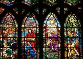 PARIS, FRANCE - NOV 09,2012:Feeding 5000 men and their families, stained glass.Church of Saint-Jean-