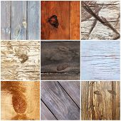Collage of old wooden texture
