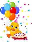 Cute Duckling with party hat  holding balloons