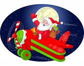 Cartoon illustration of Santa Claus is flying in an airplane through the night sky