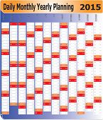 Daily Monthly Yearly 2015 Calendar Planning Chart