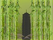 illustration with pagoda in green bamboo
