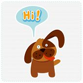 cute cartoon dog and a speaking bubble - vector illustration