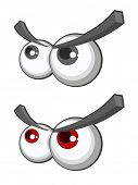 Set of cartoon eyes with eyebrows