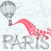 Paris, city of love concept, hot air balloon, pink hearts over the sky and Paris original lettering