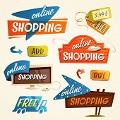 Online shopping concept. Web elements. Vector illustration.
