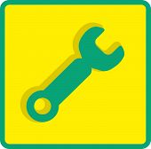 Wrench. tool to work Flat modern web button