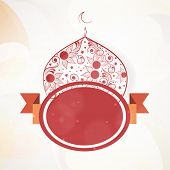 Stylish floral decorated mosque and maroon badge on abstract background for muslim community festiva