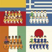 Football Team And Flag, Group C
