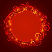 Abstract red mystic lace background with swirl pattern and frame for text