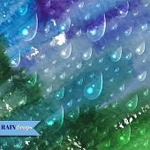 Abstract watercolor Background with rain drops