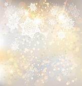 Festive winter background with snowflakes and lights. Copy space