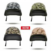 Set of Military camouflage helmets. Vector Illustration.