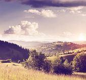 Fantastic sunny hills under morning sky. Dramatic scenery. Carpathian, Ukraine, Europe. Beauty world