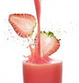 Strawberry juice on a white background