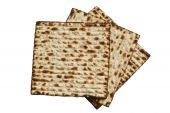 stock photo of matzah  - jewish passover matzah isolated on white background - JPG