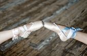 Pointed feet in ballet shoes