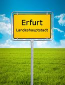 An image of the city sign of Erfurt