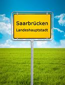 An image of the city sign of Saarbruecken