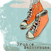 picture of funky  - Colored funky hanging gumshoes skateboard fashion sneakers grunge style background vector illustration - JPG