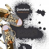 foto of funky  - Colored funky gumshoes casual footwear grunge style with ink splash background vector illustration - JPG