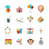 image of circus clown  - Circus tent with monkey and lion and clown magical wand triks icons set flat isolated vector illustration - JPG