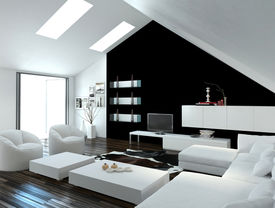 image of apex  - Modern compact loft living room interior with skylights in the sloping ceiling and white and black decor with a modern suite and cabinets - JPG