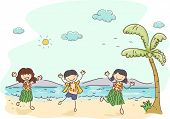 Illustration of Kids Wearing Hawaiian Costumes Dancing in the Beach