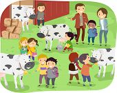 Illustration of Kids Checking Out Cows During a Field Trip in a Dairy Farm