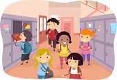 Illustration of Kids Scattered Around the School Corridors
