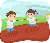 Illustration of Kids Participating in a Relay Race