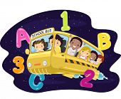 Illustration of Kids Riding a Bus in the Outer Space