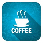 espresso flat icon, christmas button, hot cup of caffee sign
