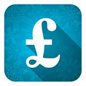 pound flat icon, christmas button