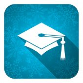 education flat icon, christmas button, graduation sign