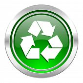 recycle icon, green button, recycling sign